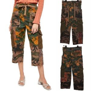 Free People Zion Print Cropped Pants in Camo Combo